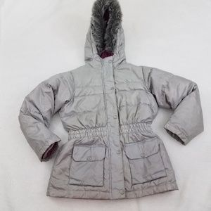 Hanna Andersson Coat 140 10 Silver Fur Jacket Wint